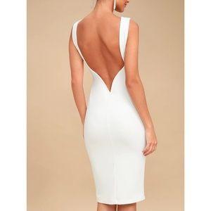 So Stunning White Backless Midi Dress